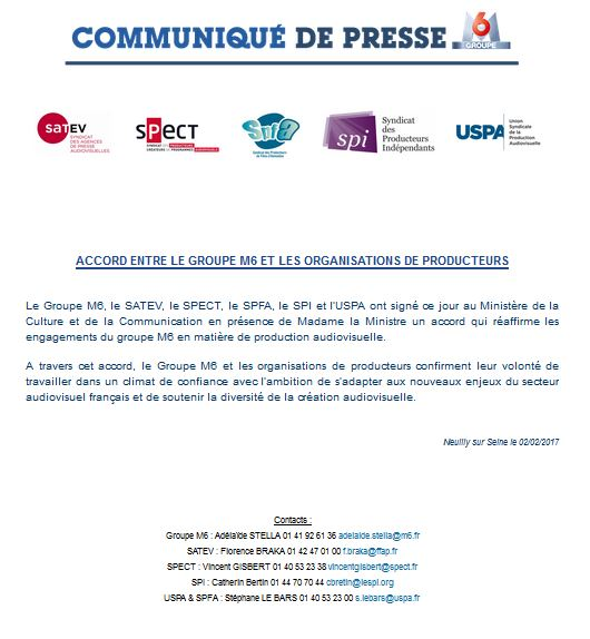 CP accord GM6 organisations de producteurs